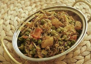 Badhakopi tarkari - bengáli káposzta-krumpli-zöldborsó sabji
